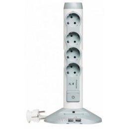 Сетевой фильтр, удлинитель Legrand Safe Control 4x2К+З, 2хUSB, 1хmicroUSB 2м с разрядником (694614)