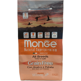 корм для собак Monge Grain Free утка с картофелем 12 кг