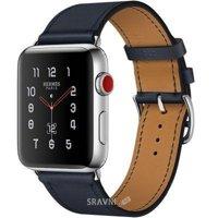 Смарт-часы, фитнес-браслет Apple Watch Series 3 Hermes (GPS) 42mm Stainless Steel Case with Indigo Swift Leather Single Tour