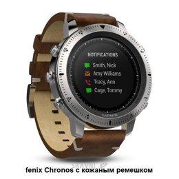 Умные часы, браслет спортивный Garmin Fenix Chronos Steel with Vintage Leather Watch Band (010-01957-00)