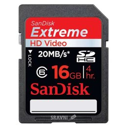 Flash Память (флешку, карту Памяти, SD, MiniSD, MiсroSD) SanDisk SDHC Extreme HD Video 16Gb (SDSDX-016G-X46)